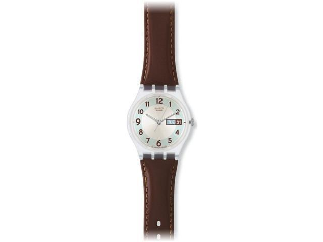 Swatch Blue Conker Grey Dial Brown Leather Mens Watch GE704