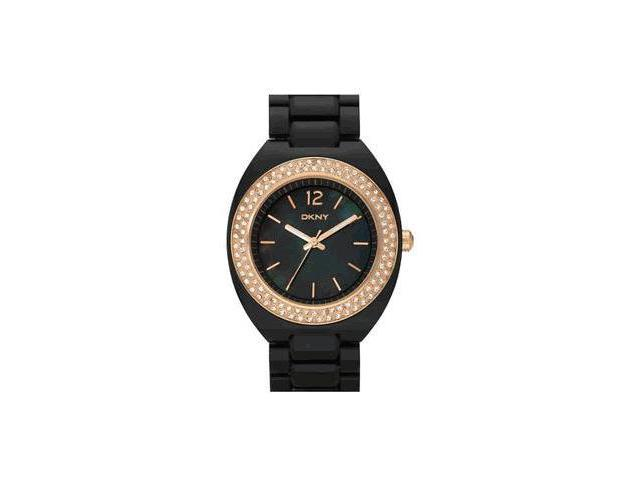 DKNY Black Plastic Glitz Ladies watch NY8094