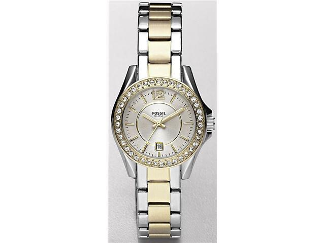 Fossil Riley Silver Dial Two-tone Stainless Steel Ladies Watch ES2880