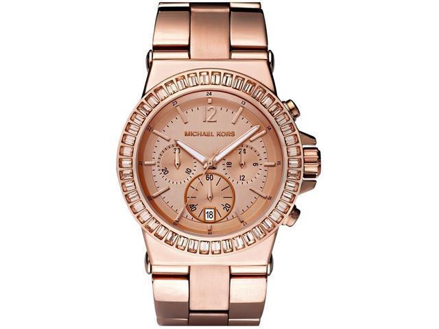 Michael Kors Rose Gold-tone Baguette Bezel Chronograph Ladies Watch MK5412
