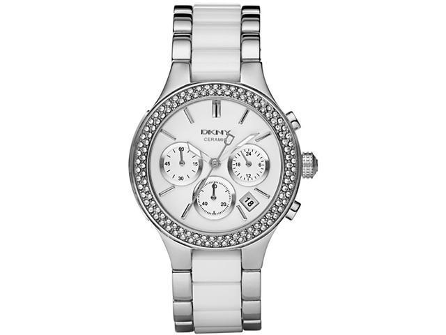 DKNY Women's Chronograph White Crystal White Ceramic& Stainless Steel