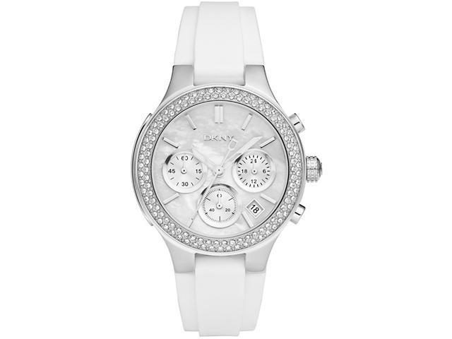 DKNY White Silicone   Chronograph Ladies Watch   NY8196