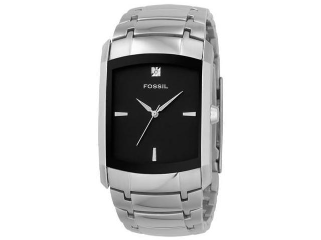 Fossil Black Dial Stainless Steel Mens Watch FS4156
