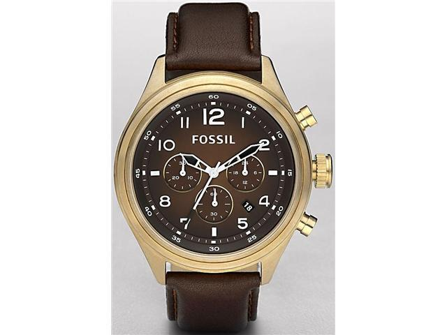 Fossil Vintaged Bronze   Chronograph Leather Mens   Watch DE5002