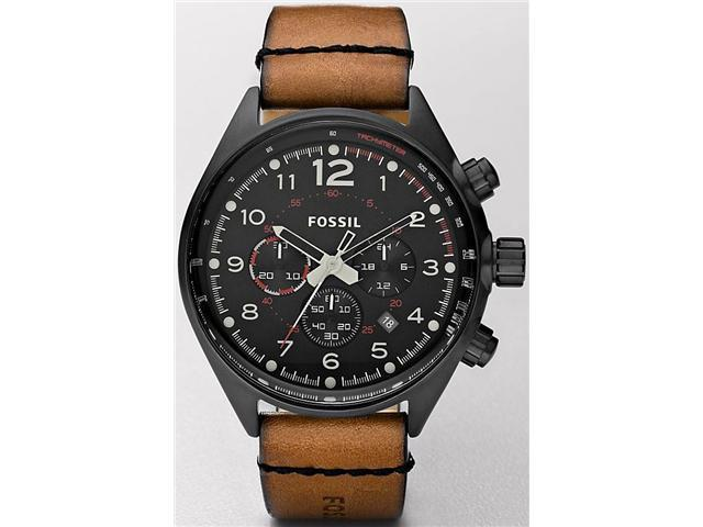 Fossil Men's CH2695 Brown Leather Quartz Watch with Black Dial