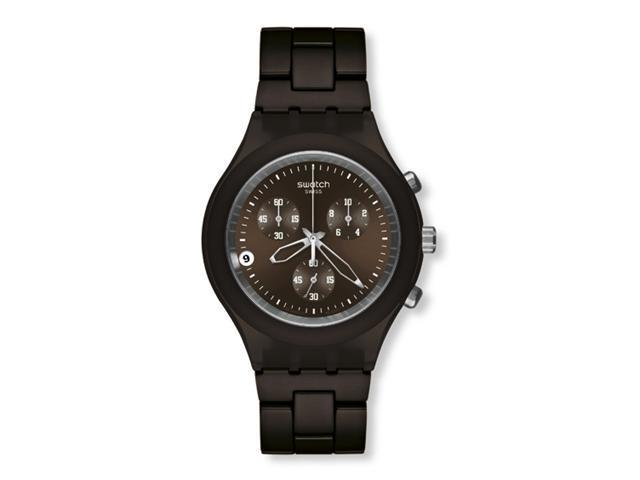 Swatch Full Blooded Smoky Brown Chronograph Brown Aluminum Mens Watch SVCC4000AG