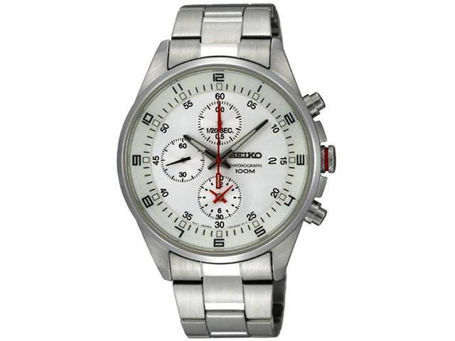 Seiko Silver Dial Chronograph Stainless Steel Mens Watch SNDC87P2