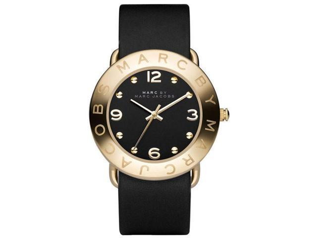 Marc by Marc Jacobs Amy Black Dial Gold Ion-plated Bezel Ladies Watch MBM1154