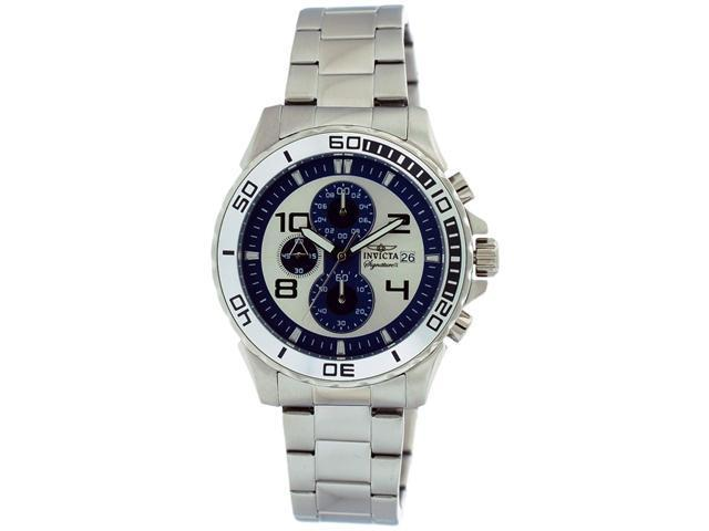 Invicta Signature II Chrono Silver & Blue Dial Stianless Steel Mens Watch 7389