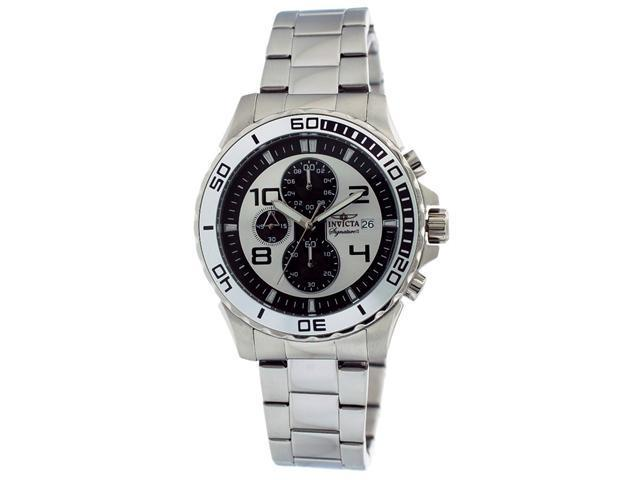 Invicta Signature II Chronograph Silver-tone & Black Dial Steel Mens Watch 7388