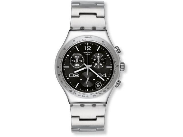 Swatch Blustery Black Chronograph Black Stainless Steel Mens Watch YCS564G