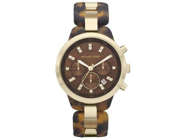 Michael Kors Gold-Tone Brown Acetate Chronograph Ladies Watch MK5609