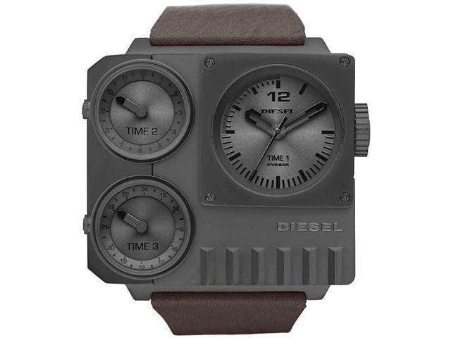 Diesel Super Bad Ass Triple Time Zone Gunmatal PVD Mens Watch DZ7249