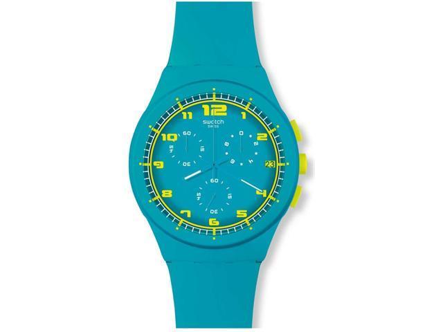 Swatch Originals Acid Drop Chronograph Turquoise Silicone Mens Watch SUSL400