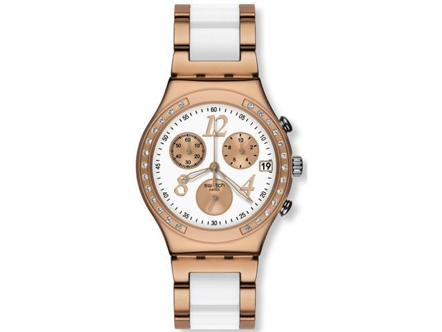 Swatch Irony Dreamwhite Rose Chrono Rose Gold-Tone Steel Ladies Watch YCG406G
