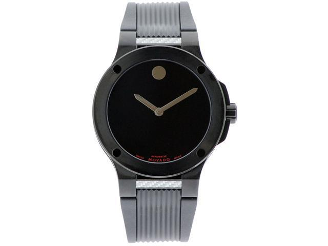 Movado SE Extreme Automatic Black Dial Black Rubber Mens Watch 0606492