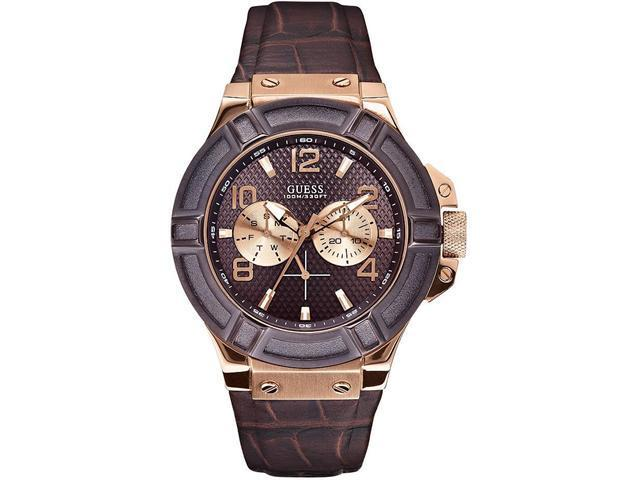GUESS Brown Croco Leather Mens Watch U0040G3