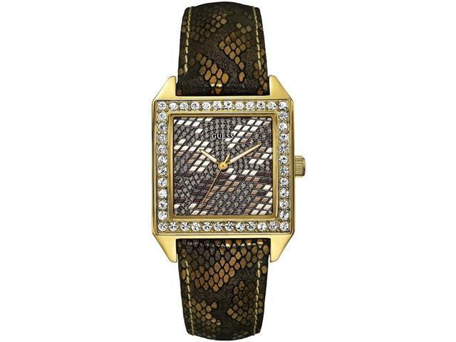 GUESS Gold-Tone Glamour Python Print Ladies Watch U0050L2