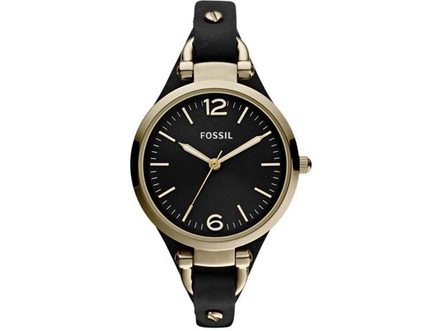 Fossil Georgia Black Dial Gold-Tone Steel Ladies Watch ES3148
