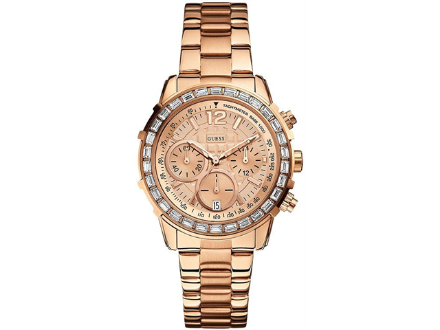 Guess Chronograph Champagne Dial Rose Gold-tone Ladies Watch U0016L5
