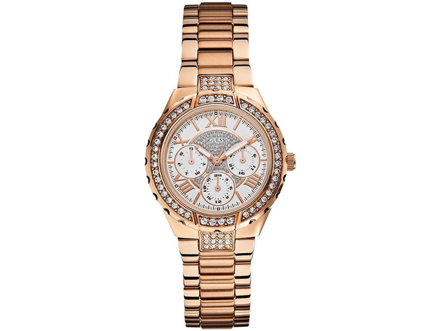 GUESS Rose Gold-Tone Crystal Ladies Watch U0111L3