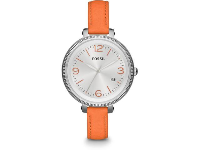 Fossil Heather Silver Dial Orange Leather Ladies Watch ES3280