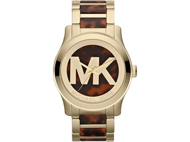 Michael Kors Runway Brown Dial Gold Tone Steel and Acetate Ladies Watch MK5788