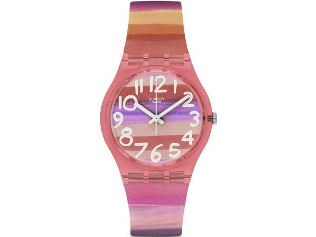 Swatch Astilbe Pink Dial Pink Silicone Unisex Watch GP140