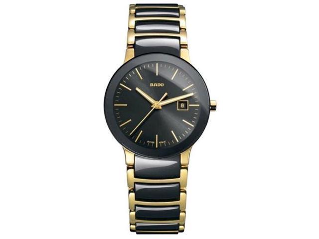 Rado Centrix Black Dial Yellow Gold PVD Black Ceramic Ladies Watch R30930152