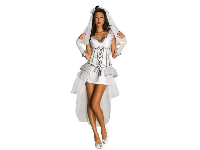 White Gothic Bride Mistress Sexy Dress Adult Costume Small