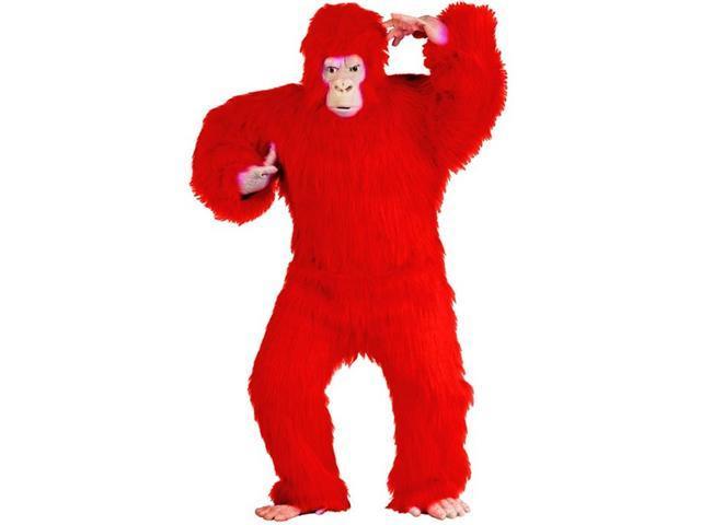 Gorilla Costume Red Plush Adult Standard
