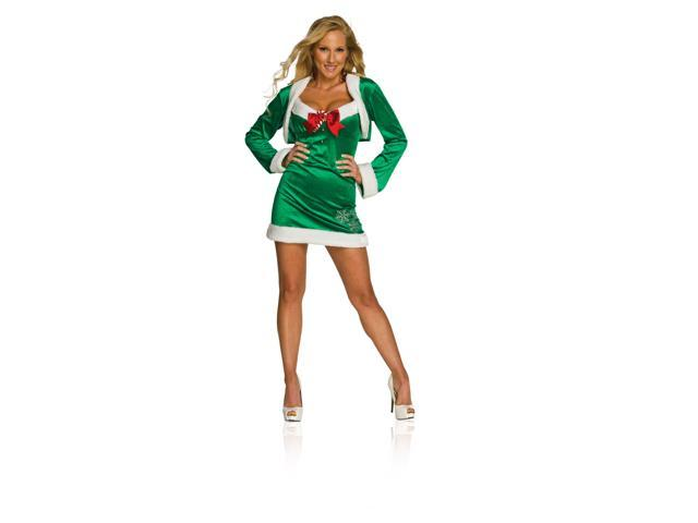 Sexy Snow Flirt Elf Christmas Green Dress Adult Costume Extra Small