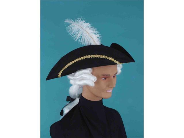 Black & Gold Colonial Style Adult Costume Hat W/ White Wig And Feather