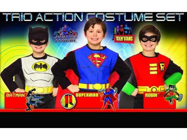 DC Superhero Trio Superman & Batman & Robin Costume Set Child One Size