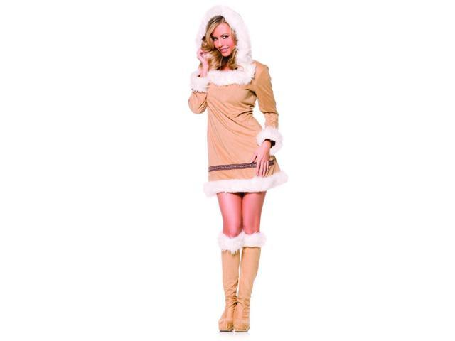 Eskimo Kisses Tan Hooded Faux Fur Eskimo Girl Mini Dress Costume Adult X-Large