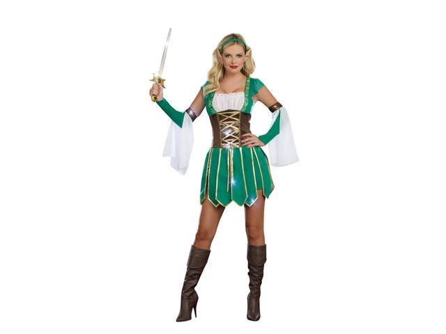 Sexy Medieval Warrior Elf Costume Dress Adult Large