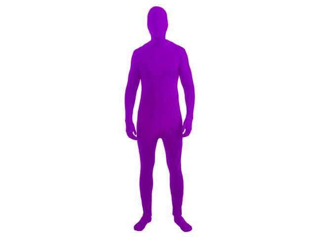 Disappearing Man Invisible Costume Jumpsuit Child: Neon Purple Large