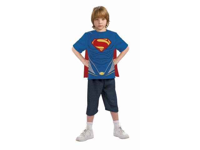 Superman Man Of Steel Costume Top & Cape Child Large