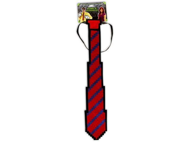 Pixel-8 Costume Neck Tie Adult: Red & Blue One Size