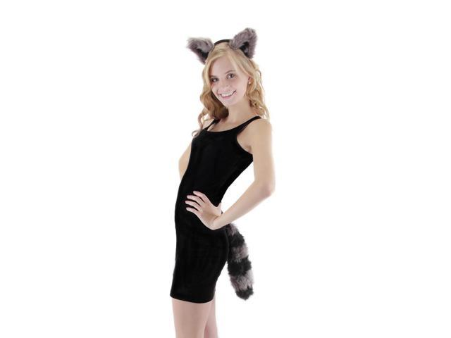 Raccoon Ear &Tail Costume Accessory Kit Adult One Size