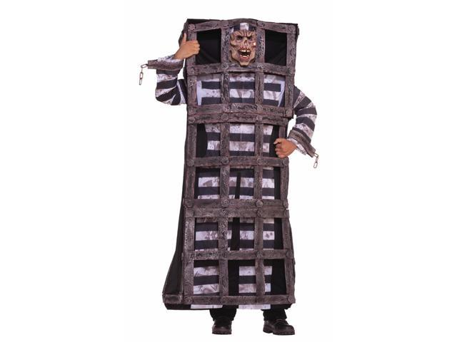 Scary Convict Prisoner In Cage Jail Costume Adult Standard