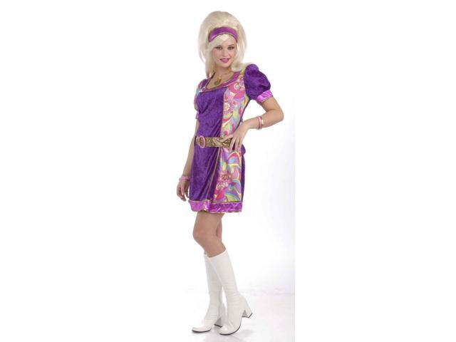 Funky Time 60's Costume Dress w/Headband Adult X-Small/Small