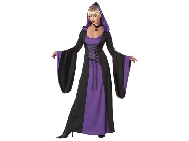 Deluxe Gothic Purple Hooded Robe Dress Costume Adult Large 10-12
