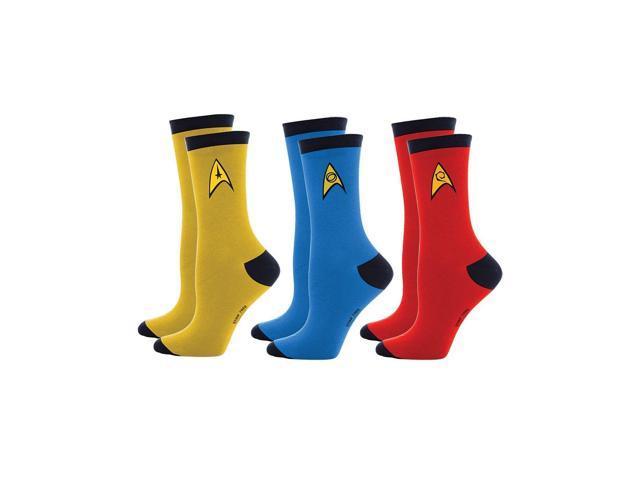 Star Trek Officer Uniform Mens 3 Pack Socks (9-12) One Size Fits Most