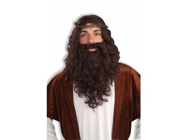 Jesus Holy Man Wig Beard &Thorn Crown Costume Kit