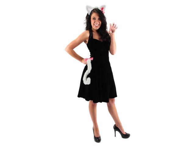 Cute Kitty Ears & Tail Costume Accessory Set White One Size