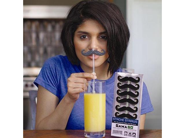 Clip on Mustache Straws Set Of