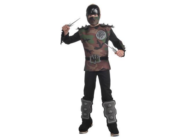 Jungle Camouflage Ninja Jumpsuit Costume Child Small 4-6