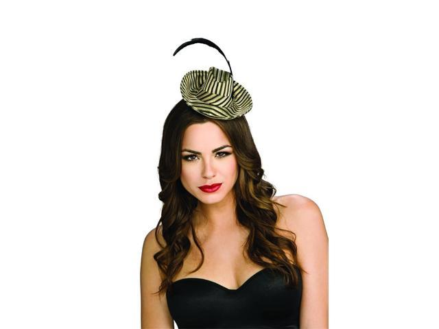 Gold & Black Striped Mini Fedora Costume Hat With Feather