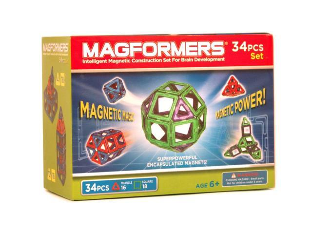 Magformers Neon Color Magnetic Construction Set 34-Piece (Green/Purple)